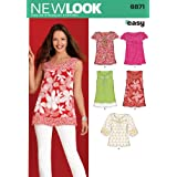 New Look Sewing Pattern 6871 Misses' Tops, Size A (10-12-14-16-18-20-22)