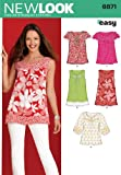 New Look Sewing Pattern 6871 Misses Tops, Size A