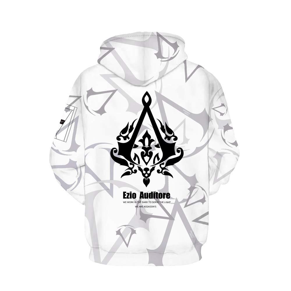 XS-XXXL Oraycm Unisex Anime Cosplay Sudadera con Capucha Impresa En 3D Camiseta De Manga Largas Su/éter Zipper AssassinS Creed