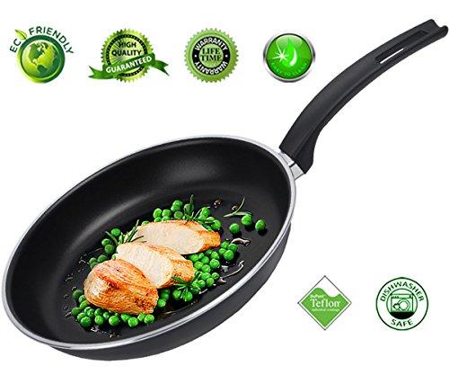Frying Pan Nonstick Skillet Fry Pan Teflon Nonstick Coating Omelet Pans Cookware Aluminum Dishwasher Safe 10 Inch Black -