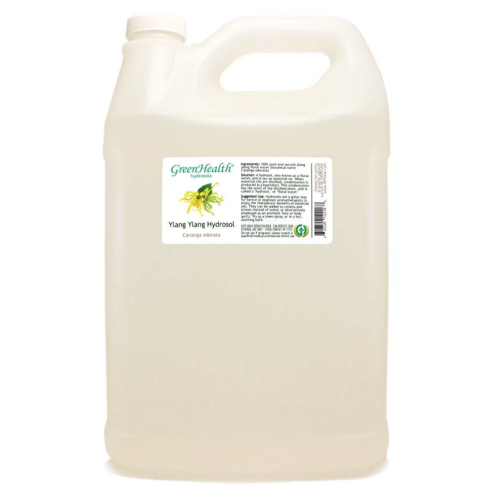 Ylang Ylang Hydrosol - 1 Gallon Plastic Jug w/Cap - 100% pure, distilled from essential oil by GreenHealth