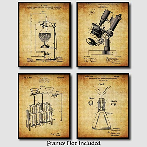 Science Gifts! - Original Science Lab Equipment Patent Prints - Set Of 4 (Four) - 8x10 Unframed - Perfect Gift For Chemists, College Students, And Science Teachers ()
