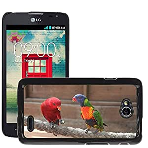 Etui Housse Coque de Protection Cover Rigide pour // M00112474 Loro Birds Red Bird Animal // LG Optimus L70 MS323