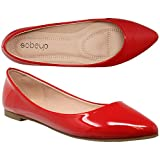 SOBEYO Women Ballet Flats Pointed Toe Slip On Closed Toe Shoes Red Patent SZ 10