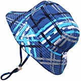 Baby 50+ UPF Bucket Sun Hat, Size Adjustable Aqua Dry ( S: 0 - 6m, Blue plaid )