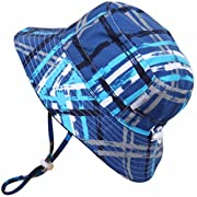 Baby 50+ UPF Bucket Sun Hat with Chin Strap, Size Adjustable Aqua Dry ( S: 0 - 6m, Blue Plaid )