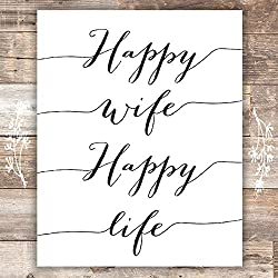 Happy Wife Happy Life Art Print - Unframed - 8x10