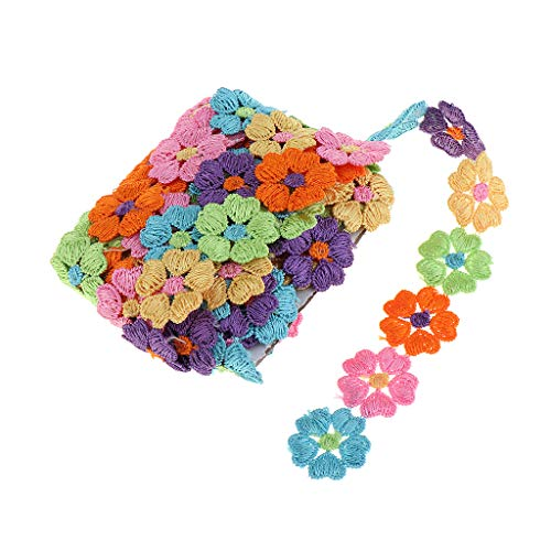 Colaxi 5 Types /& 5 Yards Rainbow Flower Lace Edge Trim Ribbon 25 Mm Width Colorful Peach Heart