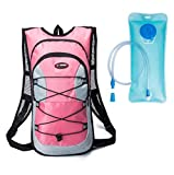 Shimmery Hydration Pack Backpacks with 2.0L Bladder for Hiking, Biking, Running, Walking and Climbing Pink
