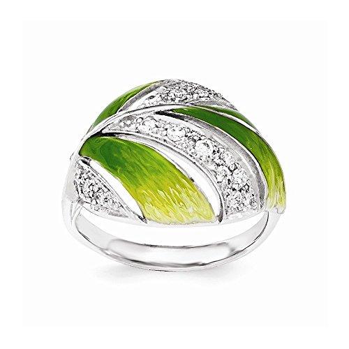 Yellow Green Enamel Ring - 9