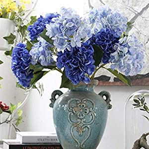 LNHOMY Artificial Silk Flowers French Fake Beautiful Hydrangea Bunch Bouquet Flower for Home Wedding Decor Pack of 4, Blue 4