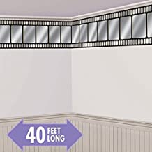 Movie Night Hollywood Themed Party Metallic Movie Film Border Roll Wall Decoration, Vinyl, 40 Feet x 18 Inches