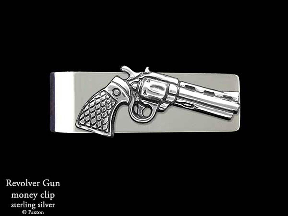 Pistol Revolver Money Clip in Solid Sterling Silver Hand Carved, Cast & Fabricated by Paxton