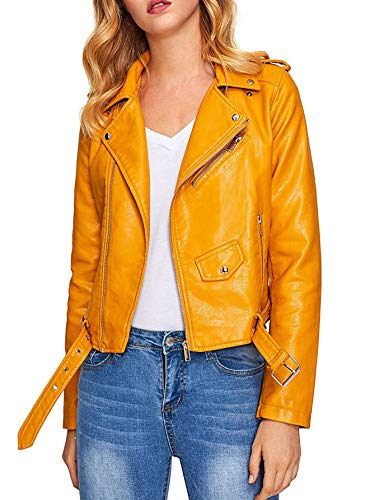 - Verdusa Women's Faux Leather Motorcycle Biker Short Coat Jacket Slim Zipper Jacket Yellow M