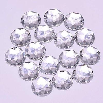  100Pcs Faceted Acrylic Crystal Rhinestone Flat Back Sew On Beads