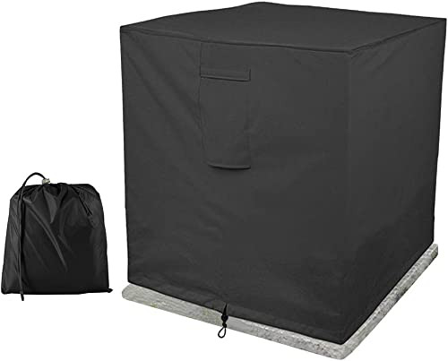 BullStar Air Conditioner Cover Square 34 x 34 x 30 H, Heavy Duty Outdoor Waterproof AC Covers for Outside Units Weatherproof, Black