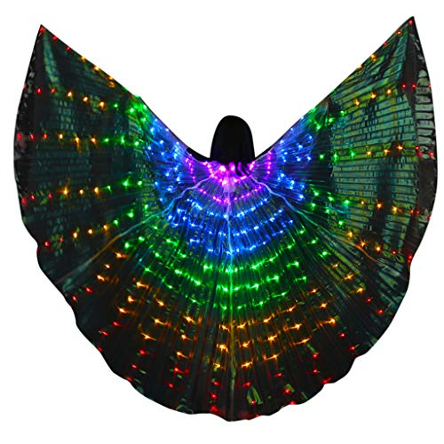 FEDULK Upgrade LED Angel Wings Glow Light Up Belly Dance Clothing Halloween Costumes with Telescopic Sticks(Purple) -