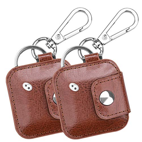 (2 Pack) Fintie Case with Carabiner Keychain for Tile Mate, Tile Pro, Tile Sport, Tile Style Key Finder Phone Finder, Anti-Scratch Vegan Leather Protective Skin Cover, Brown