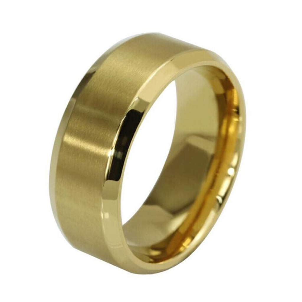 Nihewoo Wedding Band Ring for Men New Stainless Steel Ring High Polished Dome Comfort Fit Size 6-12 Ring (Size7, Gold)
