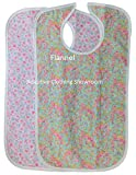 Quilted Washable Adult Bib with Snap Closure-Assorted Prints-2 per Package (Rose Buds Flannel)