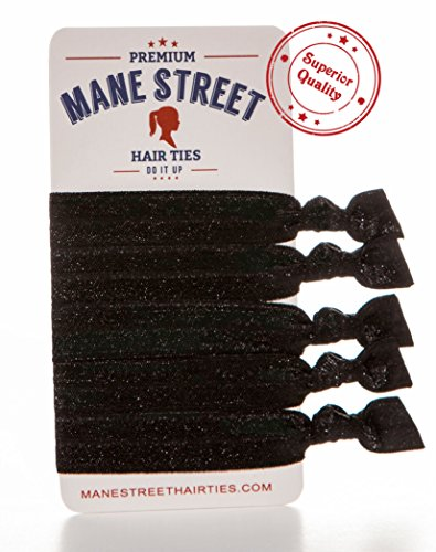 Mane Street Hair Ties (Black) - Made From The Best Fold Over Elastic Material On The Market - No Tug Knotted Elastic Ribbon - Prevents Ponytail Holder Headache - Best Seller