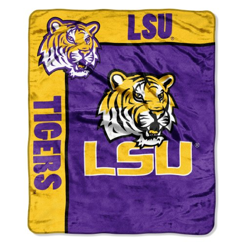 Officially Licensed NCAA LSU Tigers School Spirit Plush Raschel Throw Blanket, 50