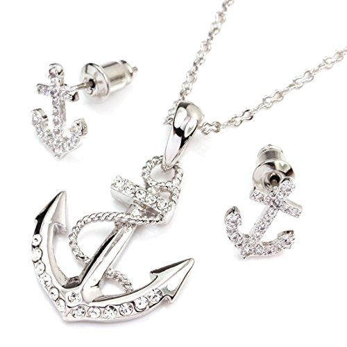 FC JORY White Gold Plated Crystal CZ Anchor Necklace Earrings Studs Jewelry Set