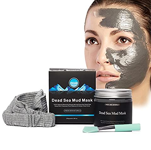 FRESH SKIN NATURALS MASK:Dead Sea Mud Mask Set- Fiream 8.8-ounce Jar of Clay Mask With a Mask Brush and a Hair - Best Clay Mask