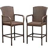2 Pcs Brown Patio Rattan Bar Stool w/ Armrest & Footrest