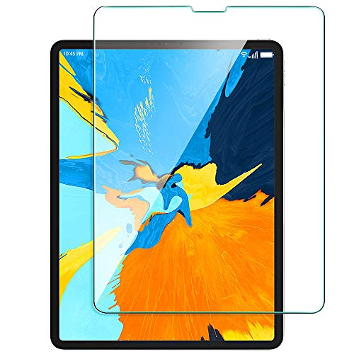 (Bovon New iPad Pro 12.9'' Screen Protector 2018, [Work with Face ID] [Scratch Resistant] [High Definition] [Apple Pencil Compatible] Tempered Glass Screen Protector for iPad Pro 12.9-inch (Clear))