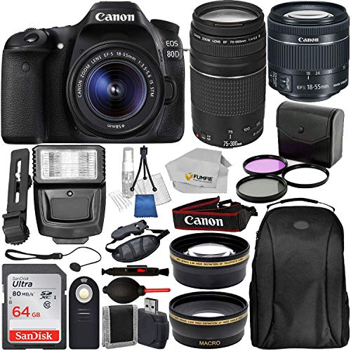 Canon EOS 80D DSLR Camera with EF-S 18-55mm IS STM & EF 75-300mm Lenses & 19PC Professional Bundle - Includes: SanDisk Ultra 64GB SDXC Memory Card + Digital Slave Flash + MORE - International Version