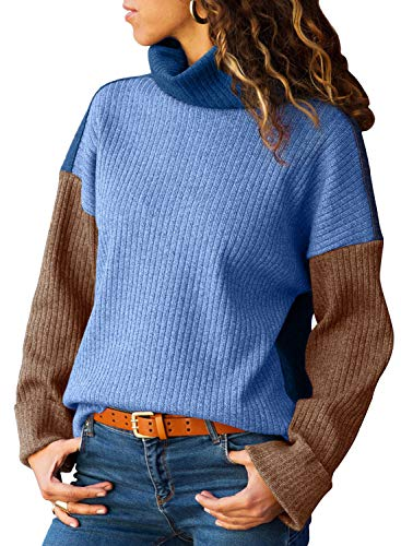 - AlvaQ Women Juniors Winter Casual Polo Neck Long Sleeve Loose Sweater Plus Size Jumper Pullover Knitted Tops Blue 1X