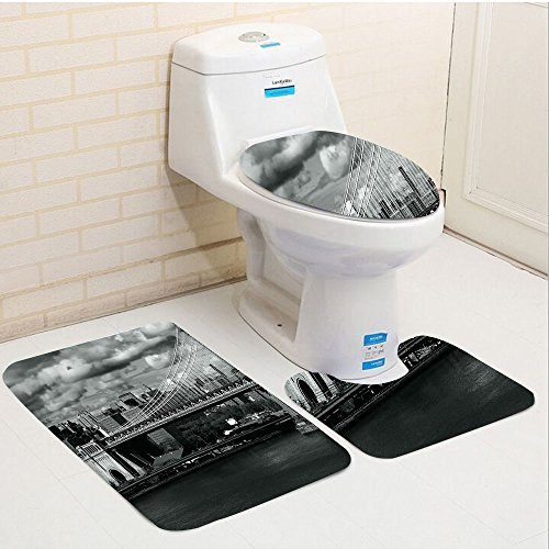 (Keshia Dwete three-piece toilet seat pad customNew York Black and White Panorama of New York City Skyline with Focus on Manhattan Bridge Photo Grey)