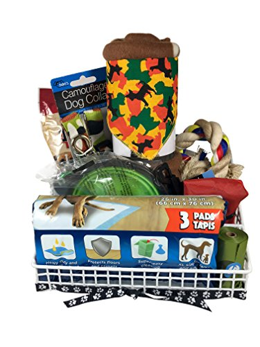 Camouflage style Dog Gift Basket Sm-Med Dog incl 10 Items - Collar and Leash, Travel Bowls, Pet Blanket, and more - Birthdays, Travel, Adoptions, Gifts for Friends and Family Too! Style Dog Box