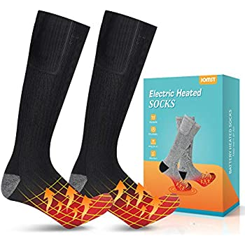 Jomst Upgraded Heated Socks,Rechargeable Battery Heating Socks for Men Women,Winter Warm Cotton Socks Camping/Fishing/Cycling/Motorcycling/Skiing Black