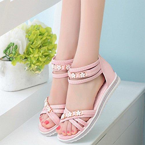 Después de los zapatos planos de las sandalias de la cremallera en Roma femenino de los estudios de las mujeres ocasionales Pink