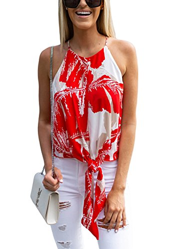 ROSKIKI Ladies Summer Casual Sleeveless Floral Print Tunic Tops for Leggings Tie Front High Neck Peplum Blouses Tank Tops Work Red (Petite Print Halter Top)