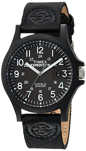 Timex Men's TW4B08100 Expedition Acadia Black Leather/Nylon Strap ()