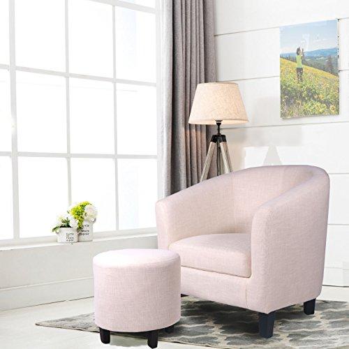 Ocean Bridge Furniture 7AM Collection Lavelle Barrell Chair and Ottoman Set, Beige