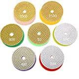 7 polishing pad for granite - INSMA 4 inch Diamond Polishing Pads 7 Pcs Set for Marble Granite Concrete Countertop Glass Stone Floor Renew, 7 Pads Mix 50 to 3000 Grit