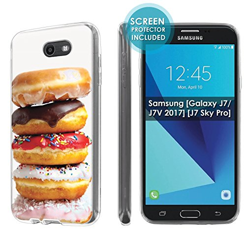 - [Nakedshield] Slim Flexi Case For Samsung [Galaxy Halo] [2017] Galaxy J7 [Galaxy Prime/Perx/Sky Pro] [Clear] Total Armor Rubber Gel Phone Case [Screen Protector]- [Donuts] Print Design