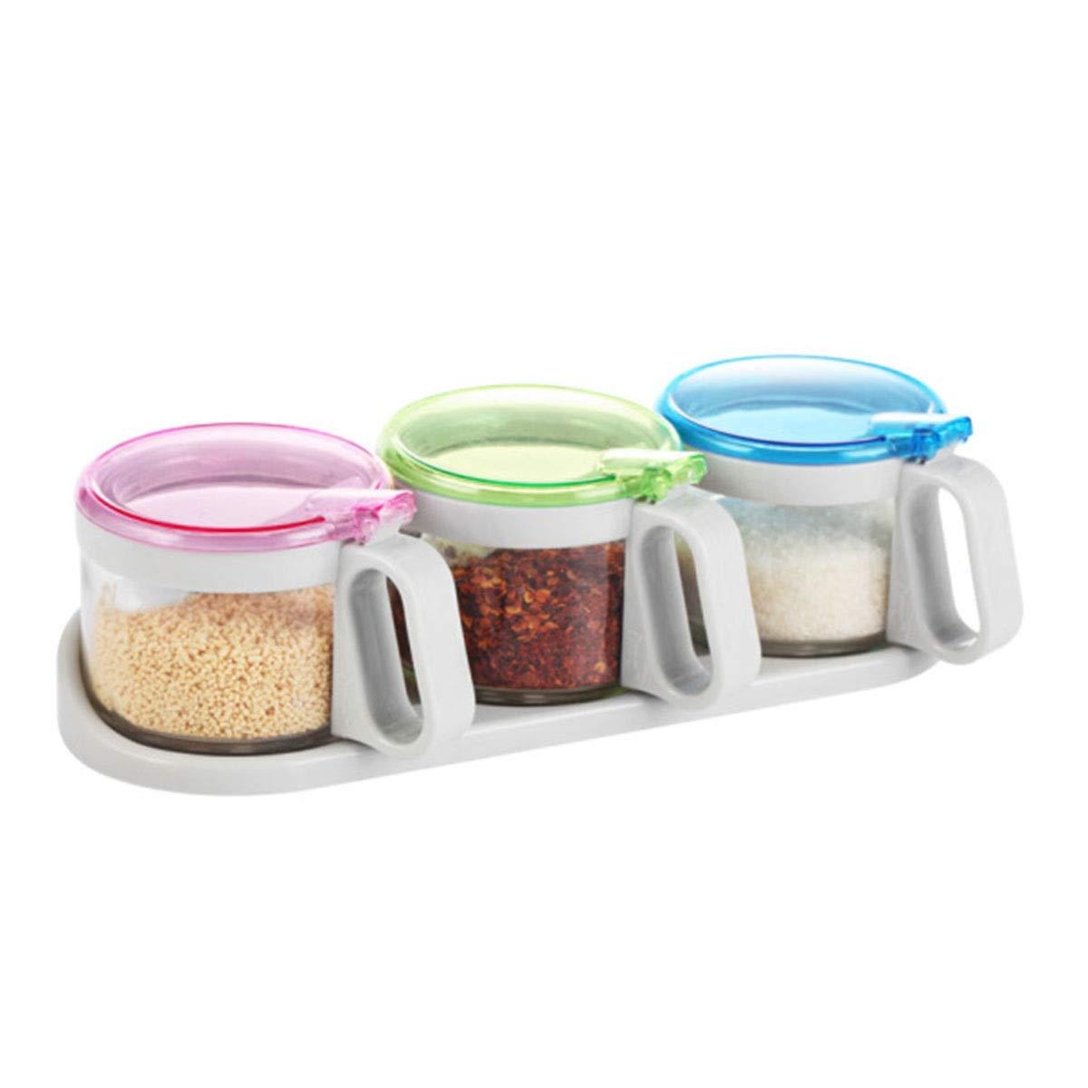 MINGRUIGONGMAO Spice Shaker, 300ML Wonderful Seasoning Tank, Three-piece, Four-piece Glass Jar Plush toys (Size : 300ml3) by MINGRUIGONGMAO