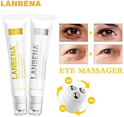Eye cream: Peptide Anti Aging Eye Serum+Snail Repair Eye Cream Anti-Wrinkle Dark Circle Anti-Puffiness Skin Care Whitening 2PCS