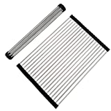Multipurpose Roll-Up Dish Drying Rack Foldable Premium 304 Stainless Steel Over the Sink Dish Drainer Rack Roll Up Dish Rack for Kitchen 19.8''L x 13.5''W x 0.25''H (Black Large)