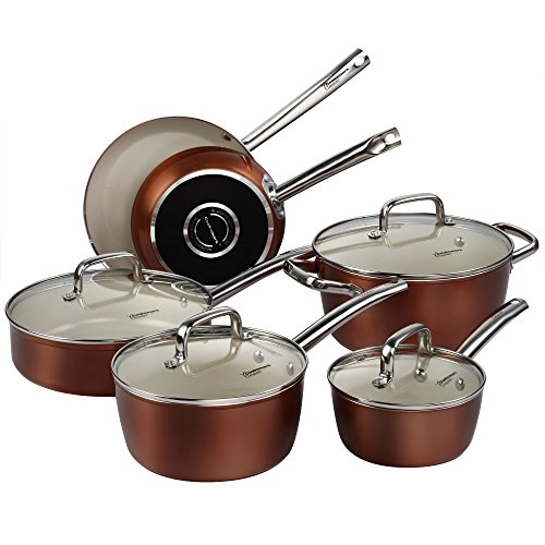 Pots and Pans Set, Cooksmark Ceramic Cookware Set Copper Finish - Nonstick and Dishwasher Safe Oven Safe - 10 Piece