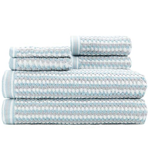 Caro Home Wakefield 6 Piece Bath Towel Set - 2 Bath Towels 2 Hand Towels 2 Face Towels - 100% Combed Cotton Premium Quality Striped Pattern Color, Thick and Heavy Weight Plush Absorbent 600 GSM from Caro Home
