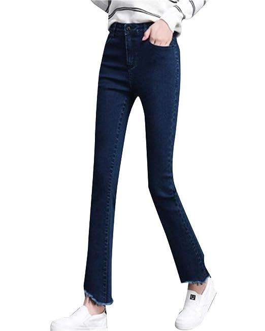 ADELINA Pantalones Vaqueros Bootcut para Mujer Cintura ...