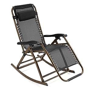 garain plegable Zero Gravity silla Lounge silla reclinable con balancín ajustable almohada para porche Patio césped jardín oficina en casa (US stock)