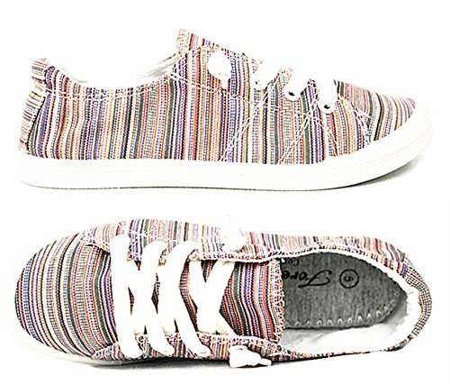 Forever Link Comfort Women's Lace up Casual Street Sneakers Flat Shoes Pink-03