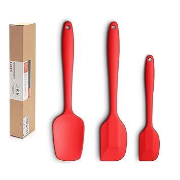 iKNOWTECH Espátula de silicona de 3 piezas, espátulas de núcleo de acero inoxidable de alta resistencia al calor, espátulas de buen agarre, espátulas ...